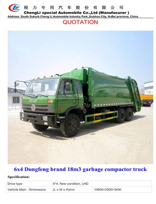 6x4 Dongfeng brand 18m3 garbage compactor truck
