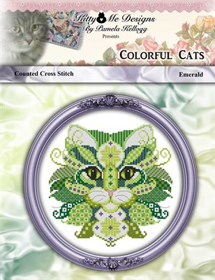 Colorful Cats Emerald Counted Cross Stitch Pattern
