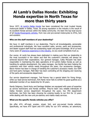 Al Lamb's Dallas Honda: Exhibiting Honda expertise in North Texas for more than thirty years