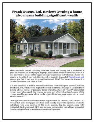 Frank Owens, Ltd. Review: Owning a home also means building significant wealth