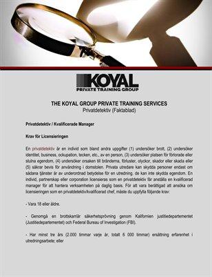 The Koyal Group Private Training Services: Privatdetektiv (Faktablad)