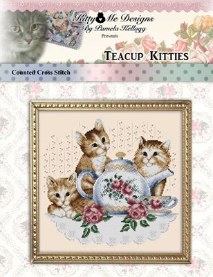 Teacup Kitties Cross Stitch Pattern