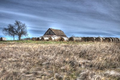 Barn with Hay Bails