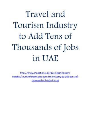 Travel and Tourism Industry to Add Tens of Thousands of Jobs in UAE