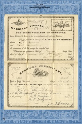 1889 Marriage License & Certificate, T.S. Magness and Lula Humphries