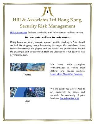 Hill & Associates Ltd Hong Kong, Security Risk Management