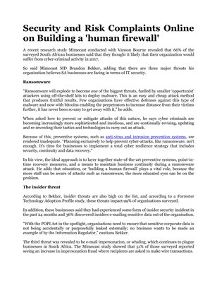 Security and Risk Complaints Online on Building a 'human firewall'