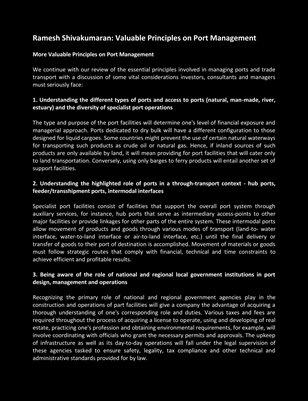 Ramesh Shivakumaran: Valuable Principles on Port Management