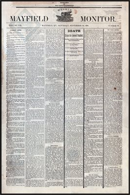 (PAGES 1-2) SEPTEMBER 24, 1881 MAYFIELD MONITOR NEWSPAPER, MAYFIELD, GRAVES COUNTY, KENTUCKY