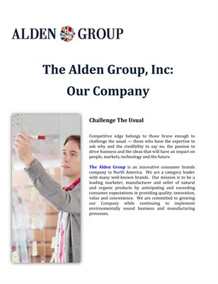 The Alden Group, Inc: Our Company