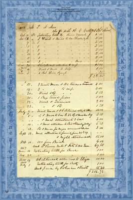 1853 Doctors Ledger Sheet for Peter N. Marr, Fulton County, Kentucky