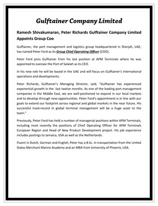 Ramesh Shivakumaran, Peter Richards Gulftainer Company Limited Appoints Group Coo