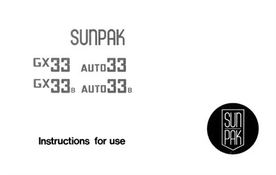 Sunpak GX33 and Auto 33 Hot Shoe Flash Instruction Manual