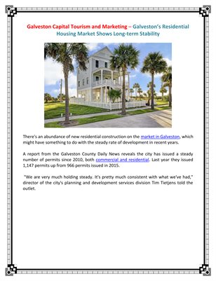 Galveston Capital Tourism and Marketing - Residential Housing Market Shows Long-term Stability