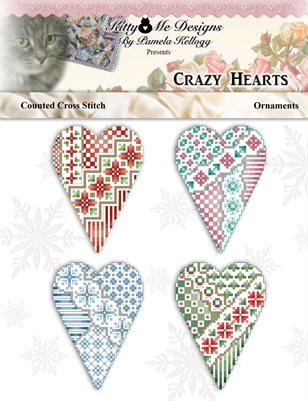 Crazy Hearts Cross Stitch Ornaments