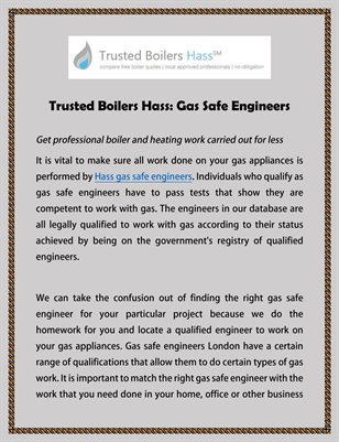 Trusted Boilers Hass: Gas Safe Engineers
