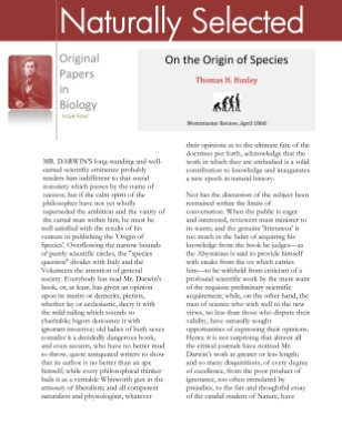 On the Origin of Species, A Review by Thomas H. Huxley