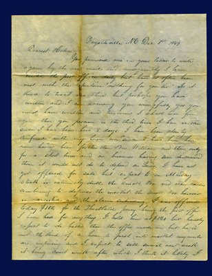 1849 Letter from James W. Cade to Helen M. Cade in Salem, Kentucky