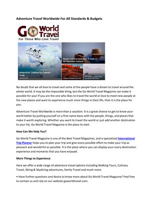 Adventure Travel Worldwide For All Standards & Budgets