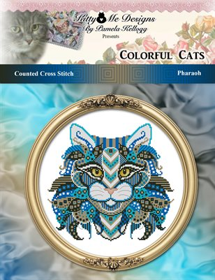 Colorful Cats Pharaoh Counted Cross Stitch Pattern