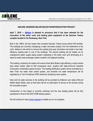 Abilene Awarded Major Boiler Room Renovation Project