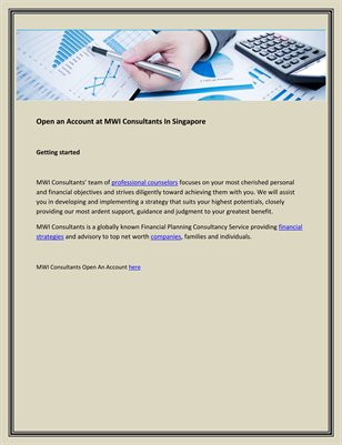 Open an Account at MWI Consultants In Singapore