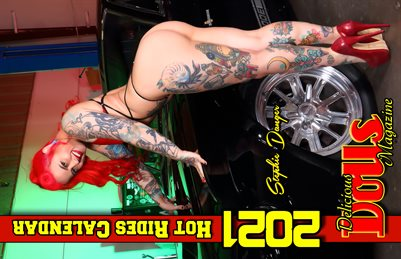 Delicious Dolls 2021 Hot Rides Calendar Stephie Danger Cover