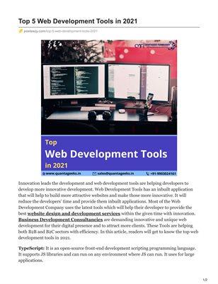 Top 5 Web Development Tools in 2021