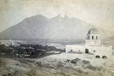 THE OBISPADO (BISHOP'S HOUSE WITH THE CERRO DE LA SILLA MOUNTAINS AND MONTERRY, MEXICO AND TROOPS WITH CANNON BALLS