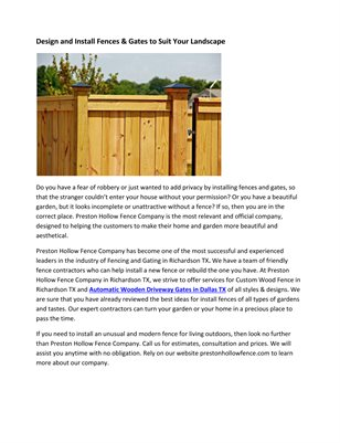 Design and Install Fences & Gates to Suit Your Landscape