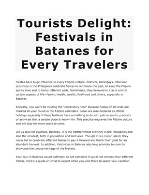 Tourists Delight: Festivals in Batanes for Every Travelers