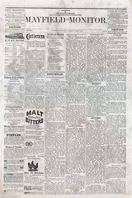 (PAGES 1-2) MAY 7TH, 1881 MAYFIELD MONITOR NEWSPAPER, MAYFIELD, GRAVES COUNTY, KENTUCKY