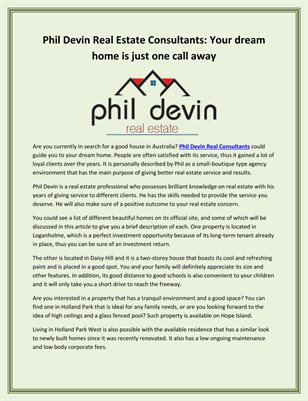 Phil Devin Real Estate Consultants: Your dream home is just one call away