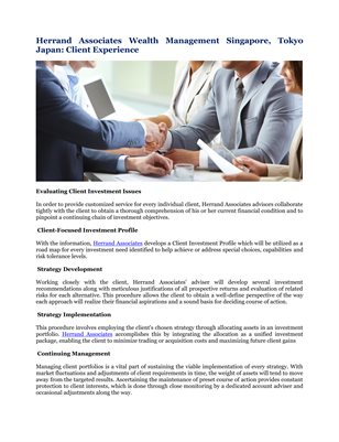 Herrand Associates Wealth Management Singapore, Tokyo Japan: Client Experience