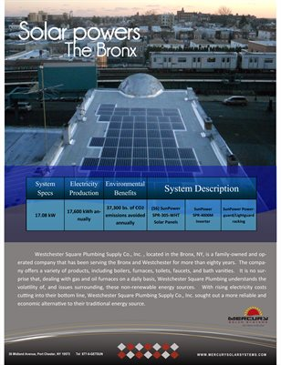 Westchester Plumbing Supply Case Study by Mercury Solar Systems