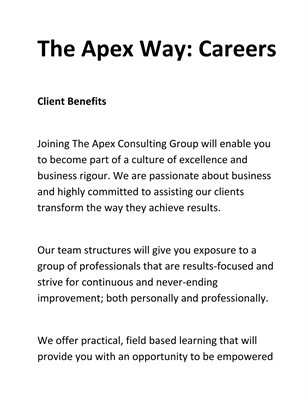 The Apex Way: Careers