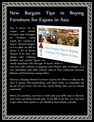New Bargain Tips in Buying Furniture for Expats in Asia