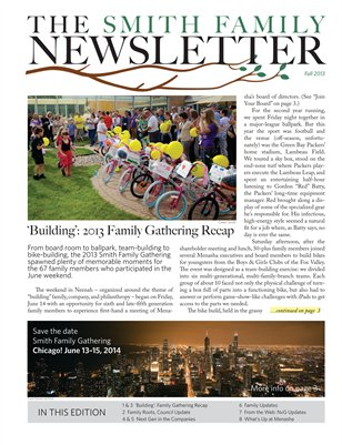 Smith Family Newsletter Fall 2013