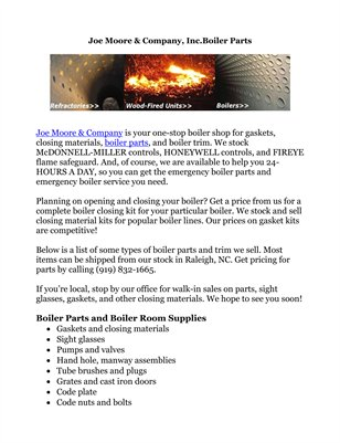Joe Moore & Company, Inc.Boiler Parts