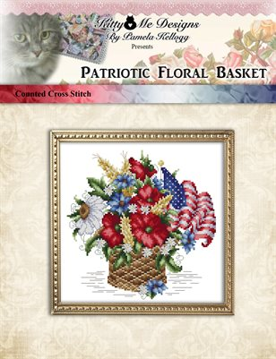 Patriotic Floral Basket Cross Stitch Pattern