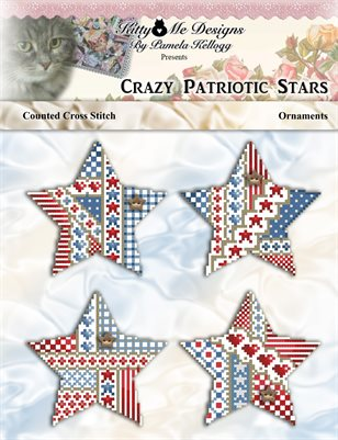 Crazy Patriotic Star Ornaments Counted Cross Stitch Pattern
