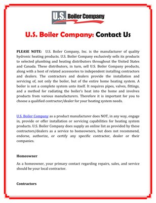 U.S. Boiler Company: Contact Us