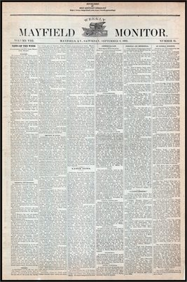 (PAGES 1-2 ) SEPTEMBER 02, 1882 MAYFIELD MONITOR NEWSPAPER, MAYFIELD, GRAVES COUNTY, KENTUCKY