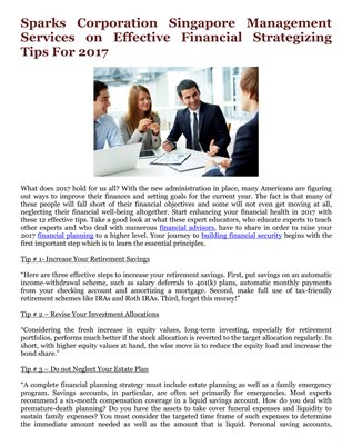 Sparks Corporation Singapore Management Services on Effective Financial Strategizing Tips For 2017