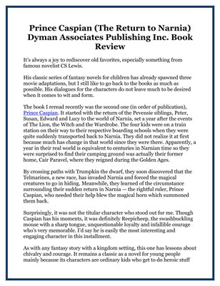Prince Caspian (The Return to Narnia) Dyman Associates Publishing Inc. Book Review