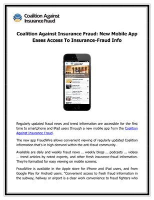 Coalition Against Insurance Fraud: New Mobile App Eases Access To Insurance-Fraud Info