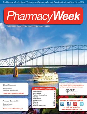 Pharmacy Week, Volume XXII - Issue 40 - November 10 - November 16, 2013