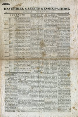 PAGES 1-2, JAN. 7TH, 1826, HAVERHILL-GAZETTE, MASS