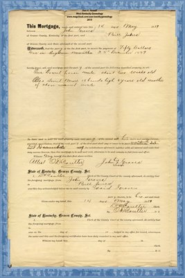 1889 Mortgage, John Graves - Bill Jones, Graves County, Kentucky