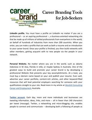 Career Branding Tools for Job-Seekers